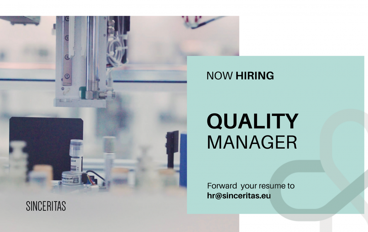 OPEN POSITION: Quality Manager
